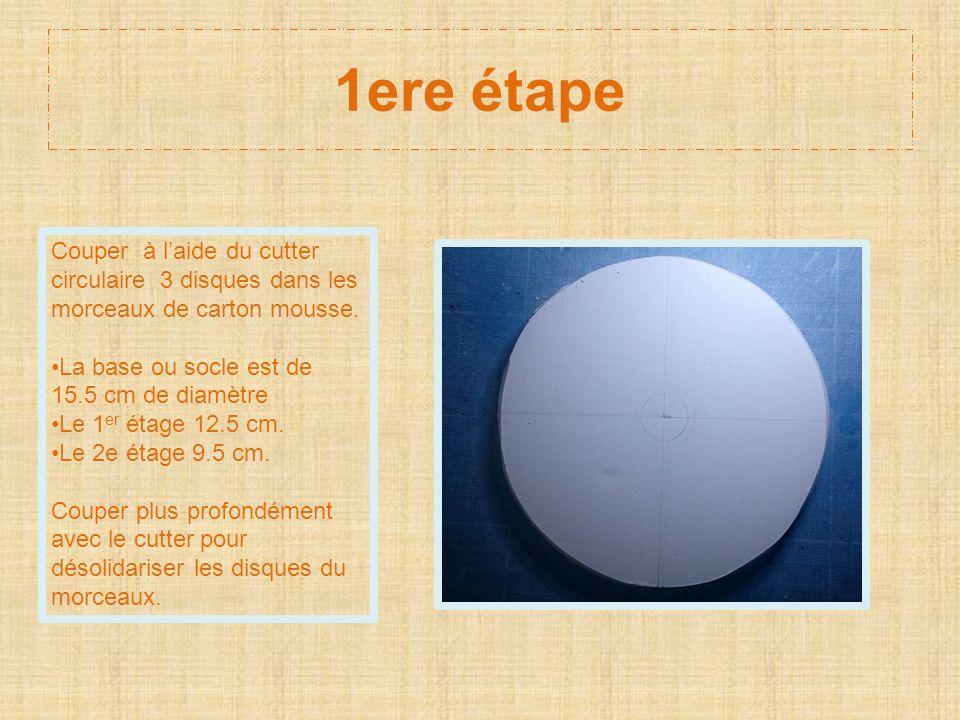 1ere étape Couper à l'aide du cutter circulaire 3 disques dans les morceaux de carton mousse. La base ou socle est de 15.5 cm de diamètre.