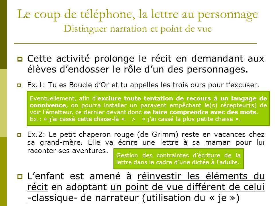 Le coup de téléphone, la lettre au personnage Distinguer narration et point de vue
