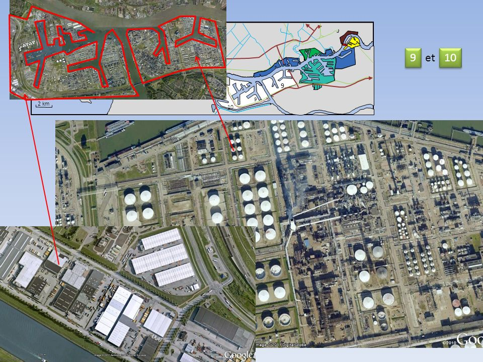 Nord 12 11 13 9 et 10 Mer du Nord 13 14 11 Nieuwe Waterweg 9 9 9 2 km 10