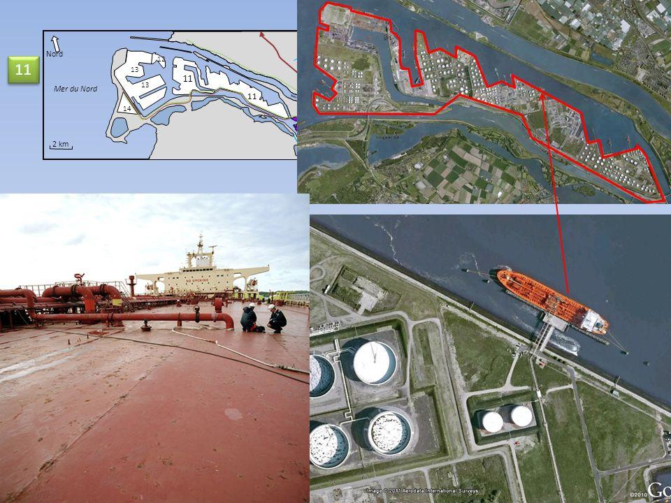 Nord 12 11 11 13 Mer du Nord 13 14 11 Nieuwe Waterweg 2 km