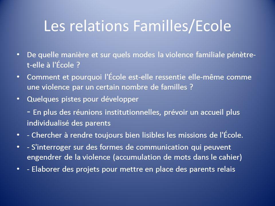 Les relations Familles/Ecole
