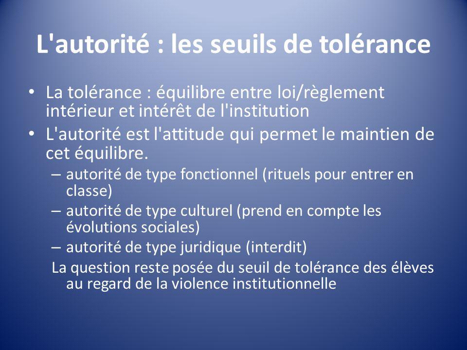 L autorité : les seuils de tolérance