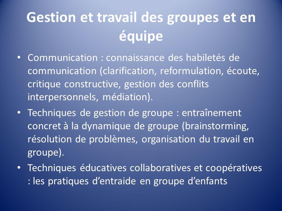 Gestion et travail des groupes et en équipe