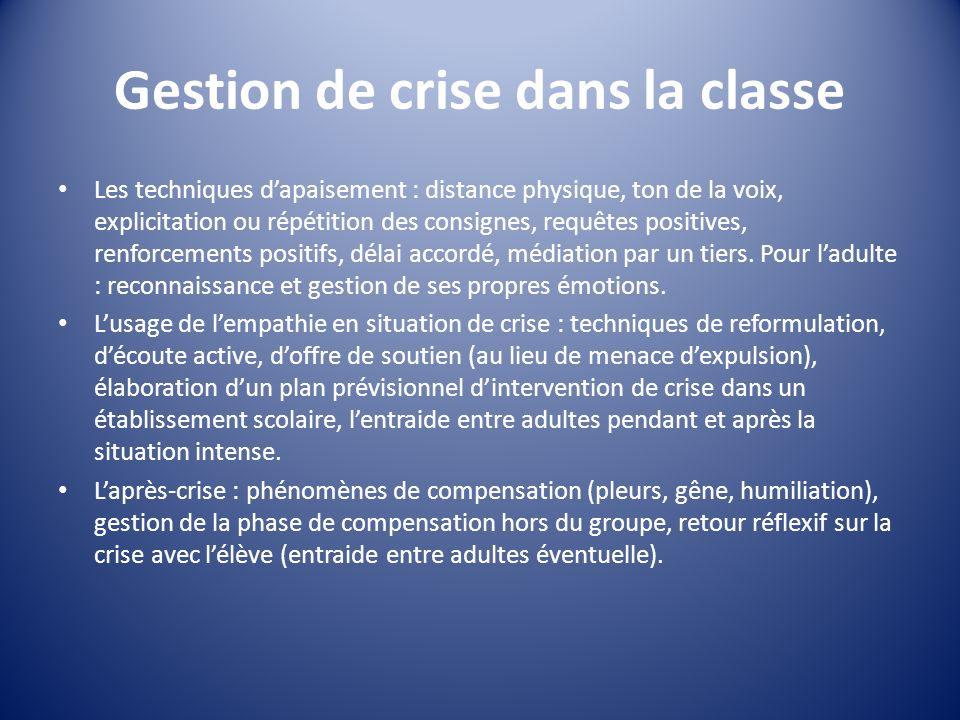 Gestion de crise dans la classe
