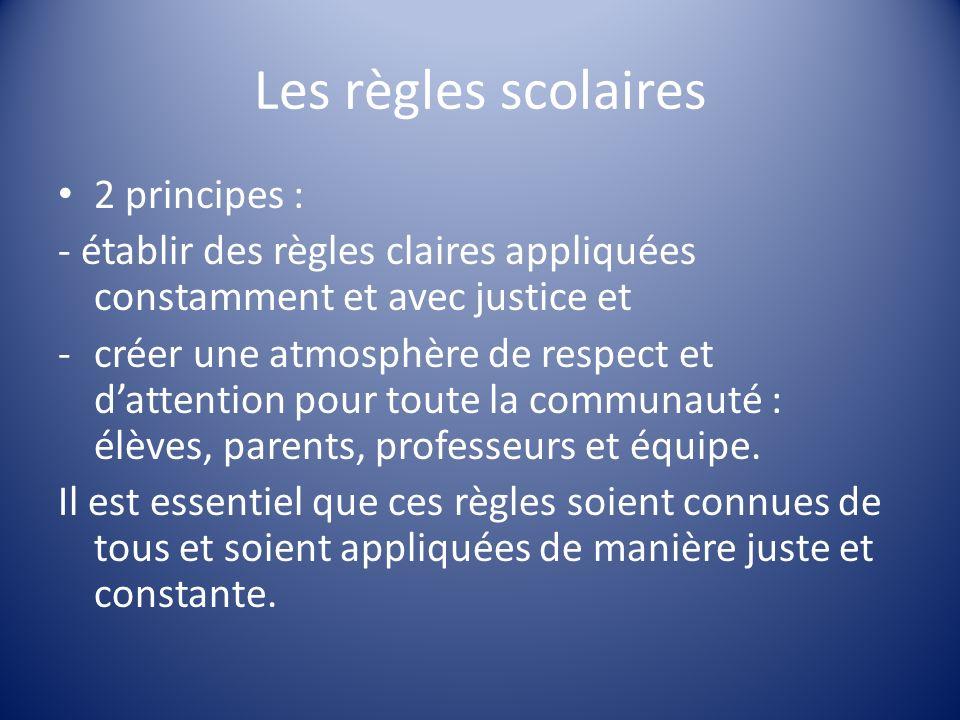 Les règles scolaires 2 principes :