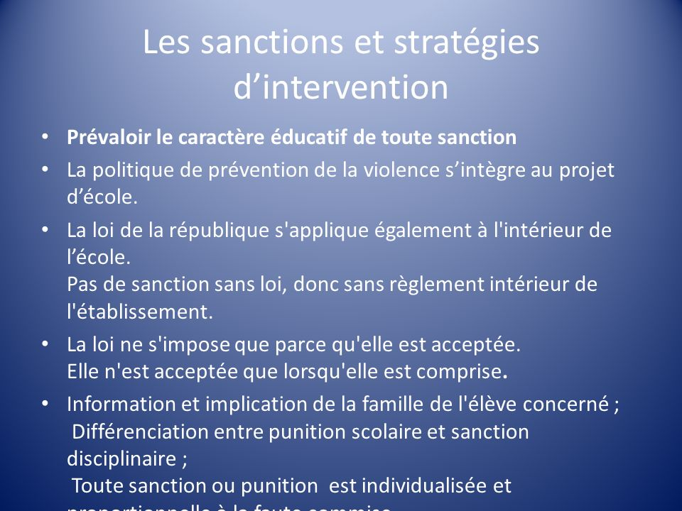 Les sanctions et stratégies d'intervention