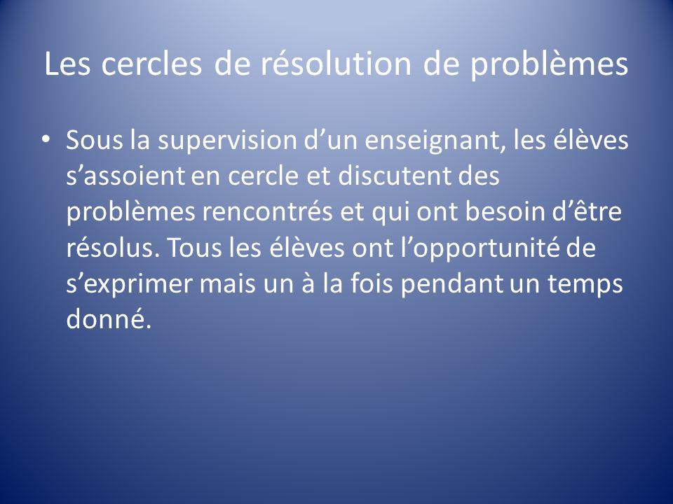 Les cercles de résolution de problèmes