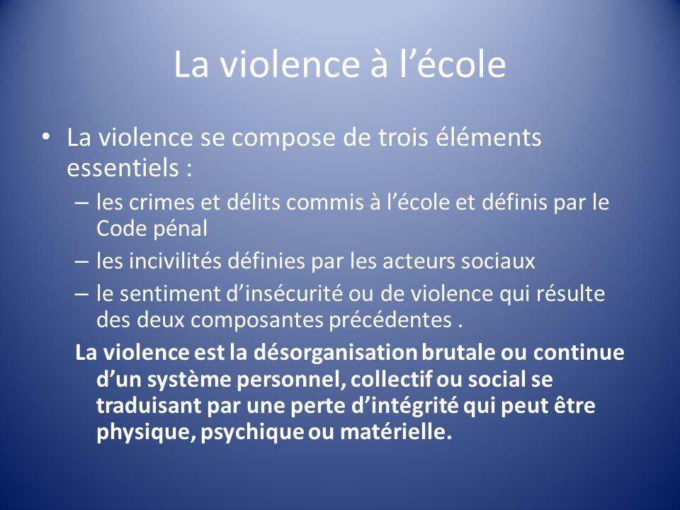 La violence à l'école La violence se compose de trois éléments essentiels : les crimes et délits commis à l'école et définis par le Code pénal.