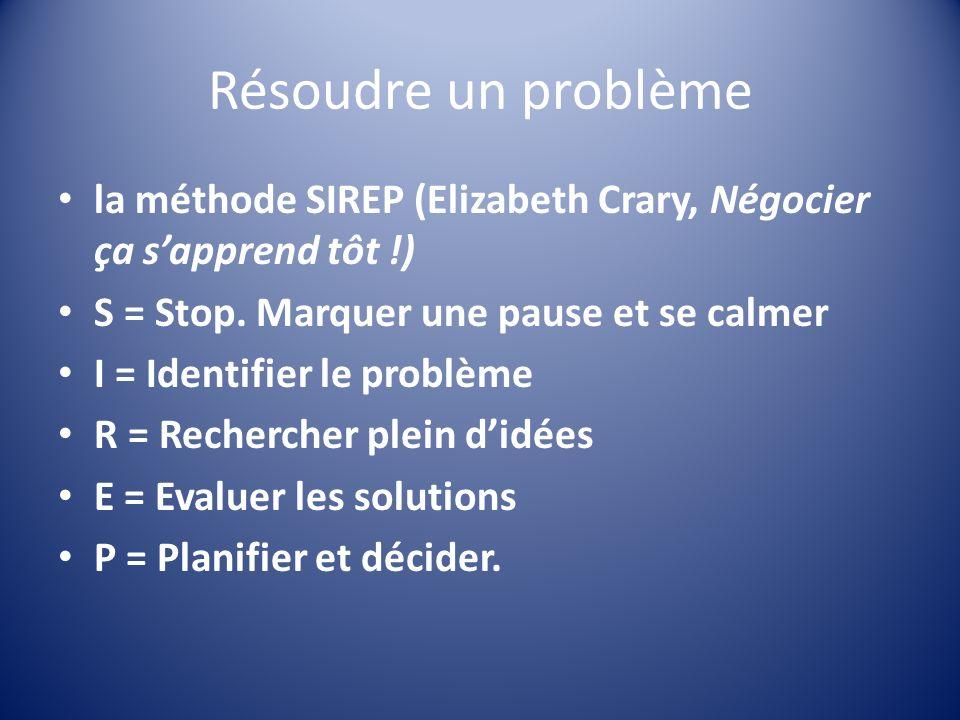 Résoudre un problème la méthode SIREP (Elizabeth Crary, Négocier ça s'apprend tôt !) S = Stop. Marquer une pause et se calmer.