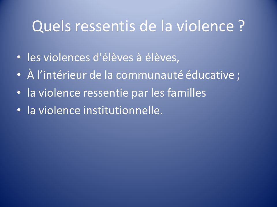 Quels ressentis de la violence