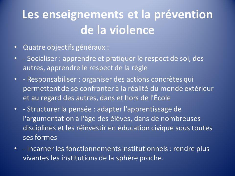 Les enseignements et la prévention de la violence