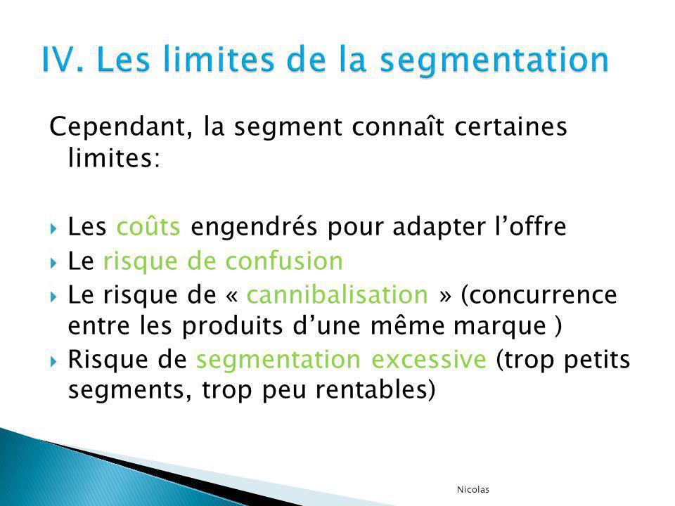 IV. Les limites de la segmentation