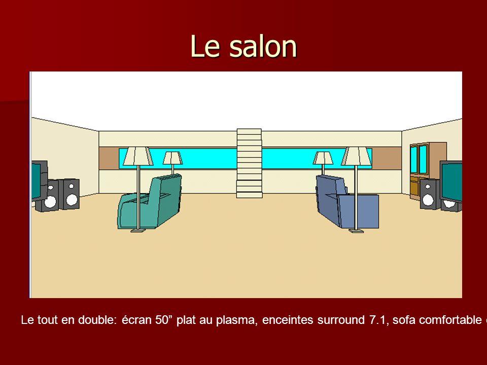 Le salon Le tout en double: écran 50 plat au plasma, enceintes surround 7.1, sofa comfortable et 2 lampes.