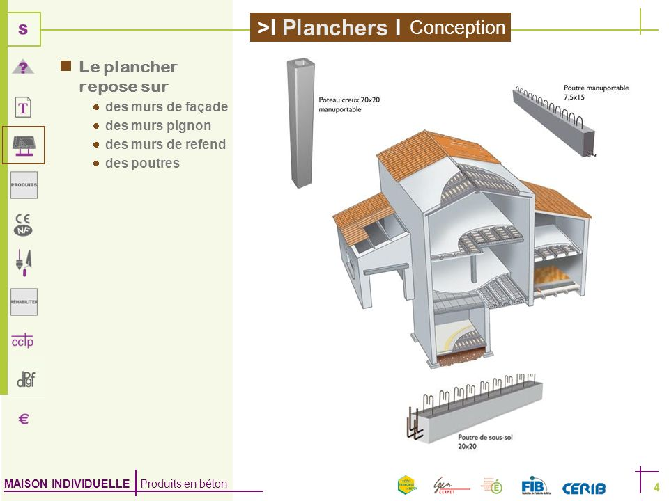 Conception Le plancher repose sur des murs de façade des murs pignon