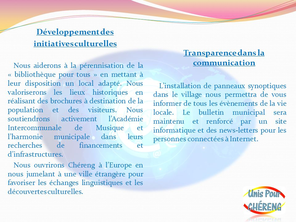 initiatives culturelles Transparence dans la communication