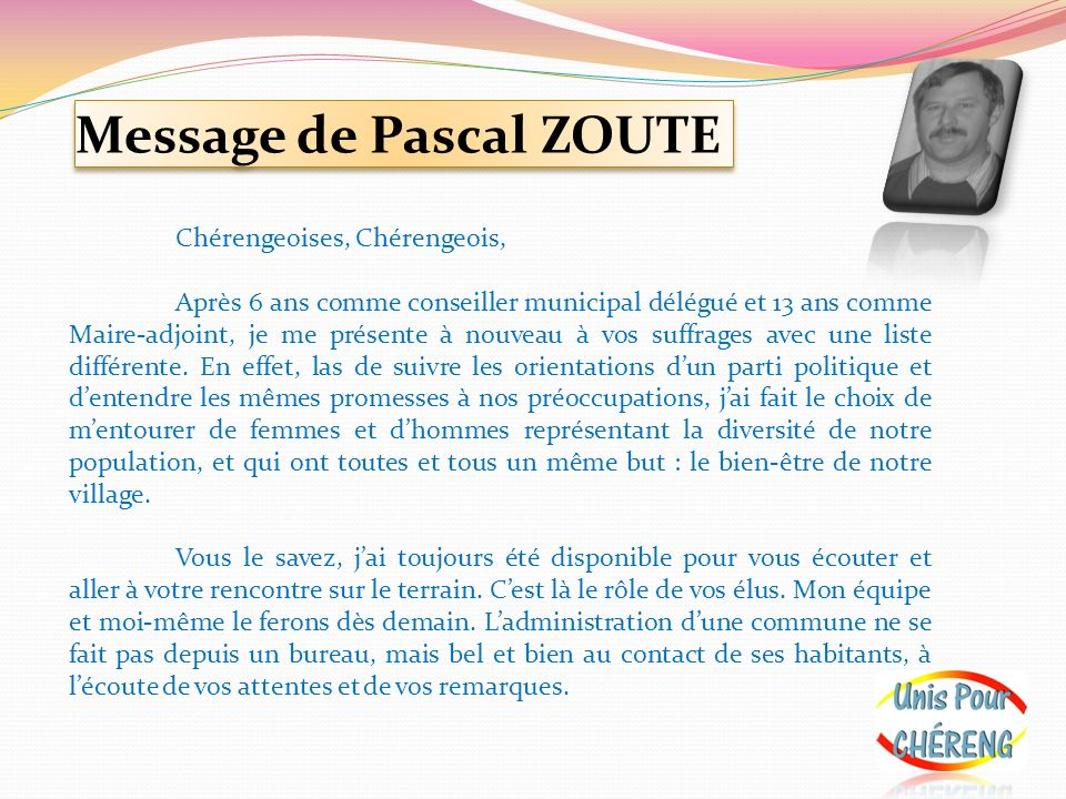 Message de Pascal ZOUTE