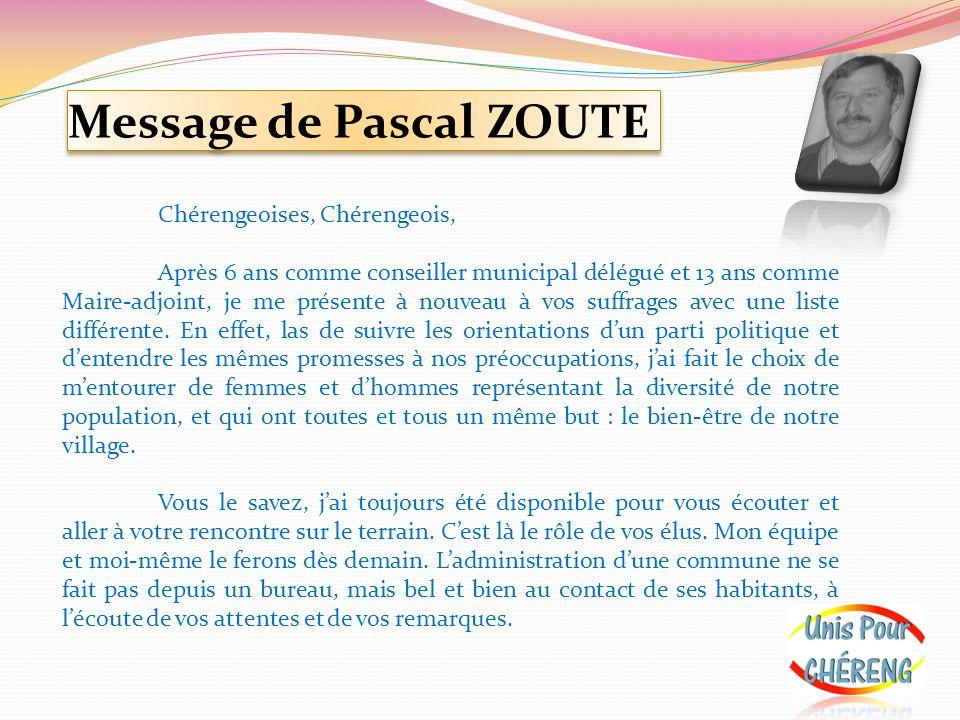 Message de Pascal ZOUTE