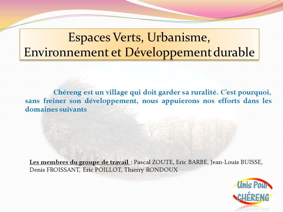 Espaces Verts, Urbanisme, Environnement et Développement durable