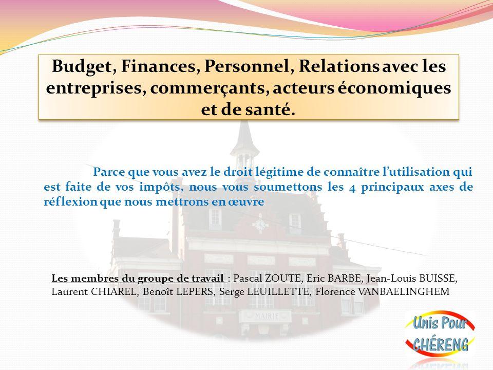 Budget, Finances, Personnel, Relations avec les entreprises, commerçants, acteurs économiques et de santé.