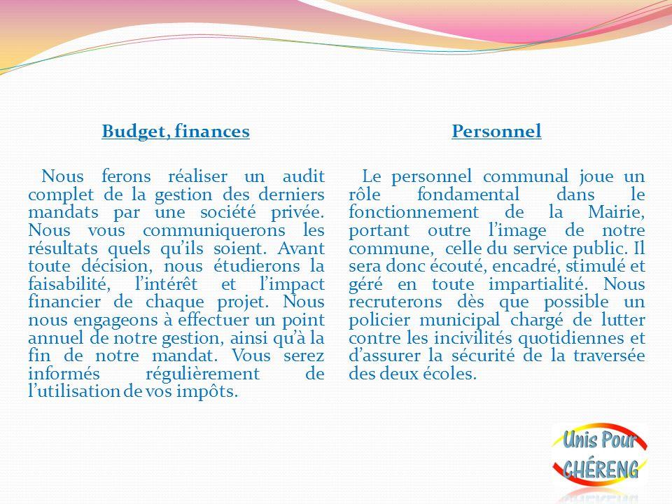 Budget, finances Nous ferons réaliser un audit complet de la gestion des derniers mandats par une société privée. Nous vous communiquerons les résultats quels qu'ils soient. Avant toute décision, nous étudierons la faisabilité, l'intérêt et l'impact financier de chaque projet. Nous nous engageons à effectuer un point annuel de notre gestion, ainsi qu'à la fin de notre mandat. Vous serez informés régulièrement de l'utilisation de vos impôts.