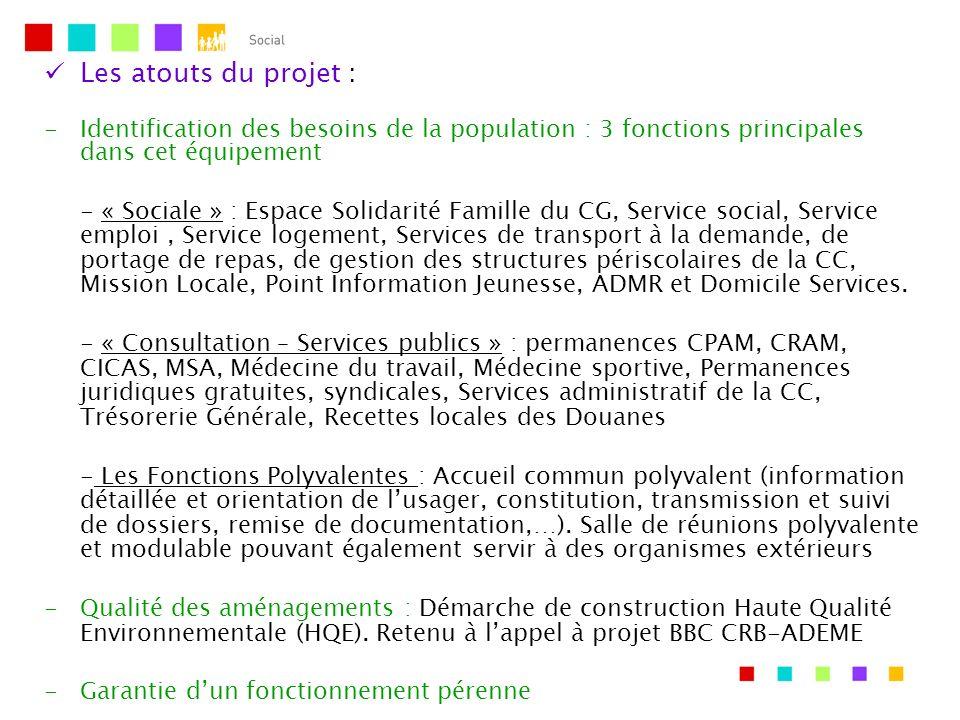 Les atouts du projet : Identification des besoins de la population : 3 fonctions principales dans cet équipement