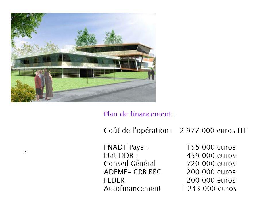 Plan de financement : Coût de l'opération : 2 977 000 euros HT. FNADT Pays : 155 000 euros. Etat DDR : 459 000 euros.