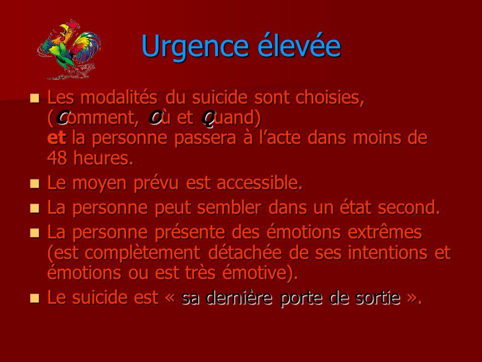 Urgence élevée Les modalités du suicide sont choisies, (Comment, Où et Quand) et la personne passera à l'acte dans moins de 48 heures.