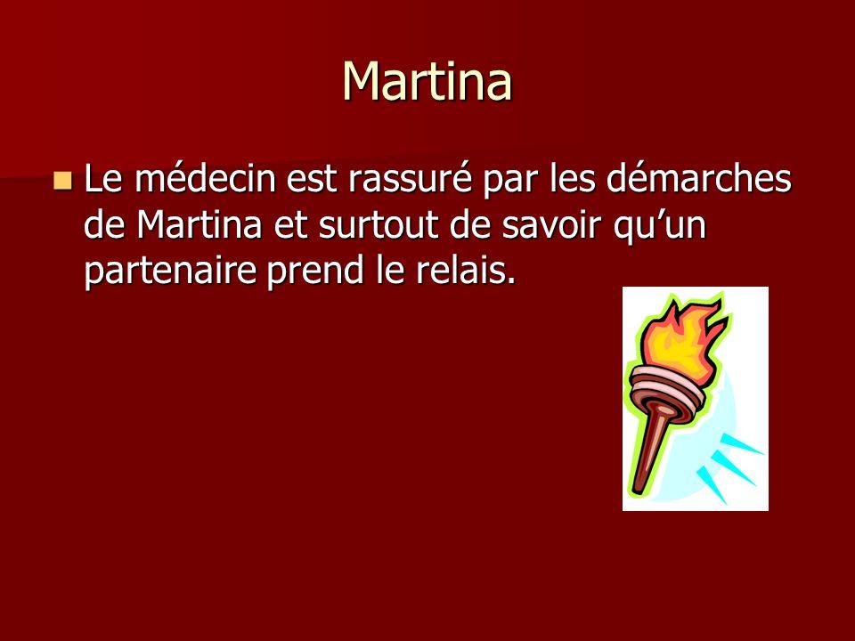 Martina Le médecin est rassuré par les démarches de Martina et surtout de savoir qu'un partenaire prend le relais.