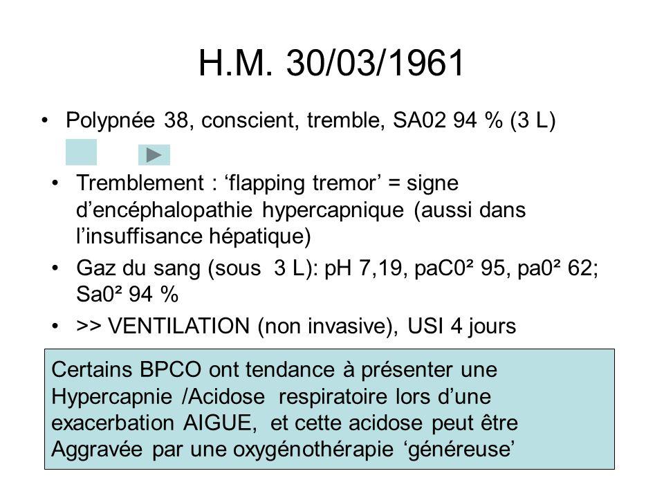 H.M. 30/03/1961 Polypnée 38, conscient, tremble, SA02 94 % (3 L)