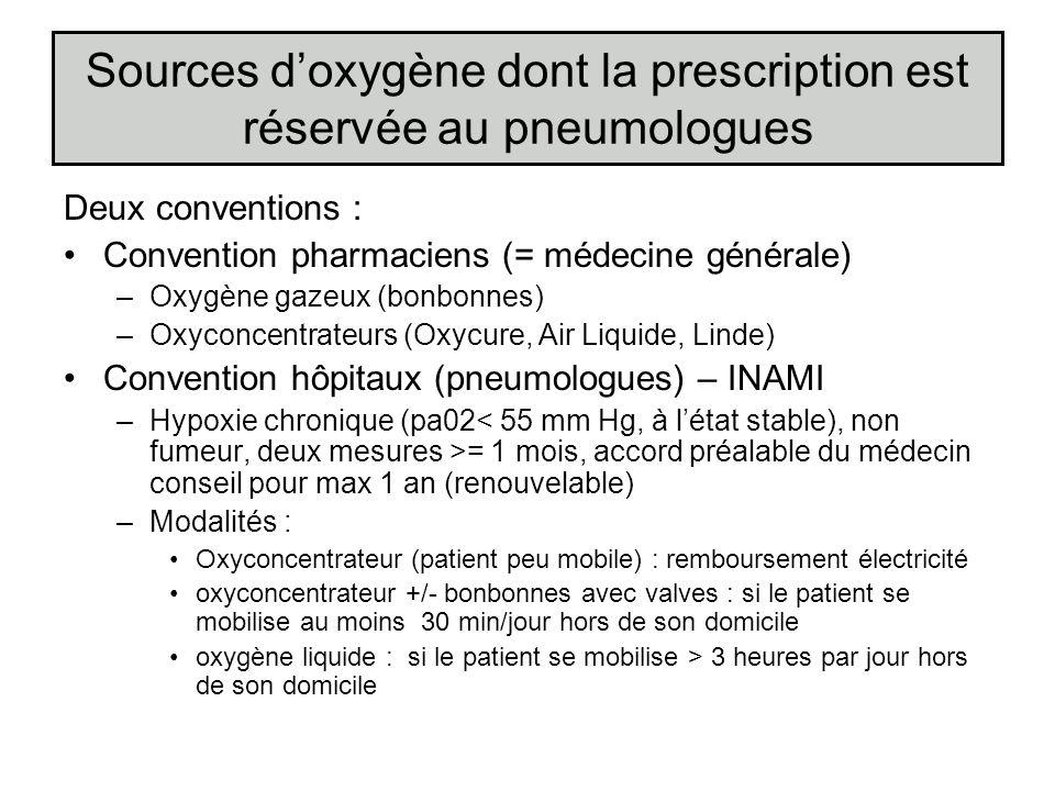 Sources d'oxygène dont la prescription est réservée au pneumologues