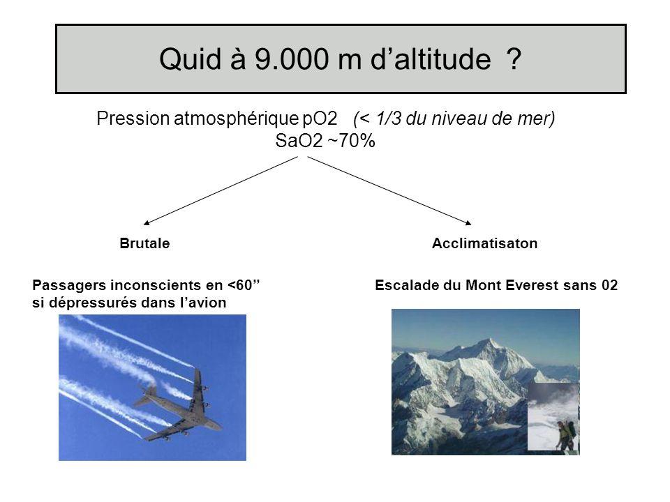 Pression atmosphérique pO2 (< 1/3 du niveau de mer)
