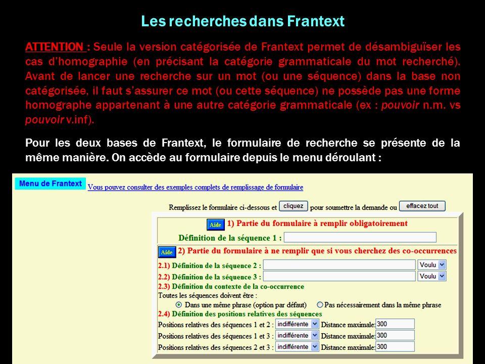 Les recherches dans Frantext