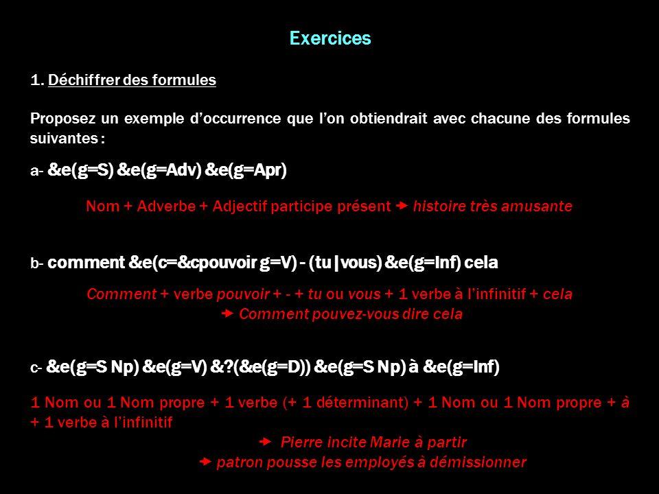 Exercices 1. Déchiffrer des formules
