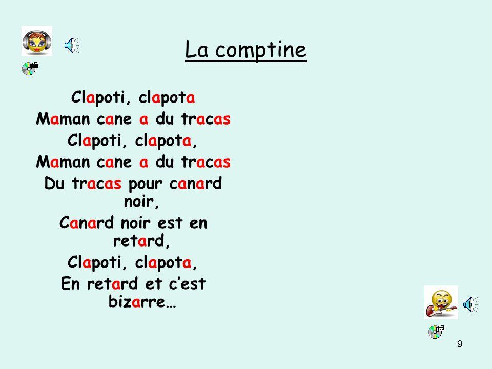 La comptine Clapoti, clapota Maman cane a du tracas Clapoti, clapota,