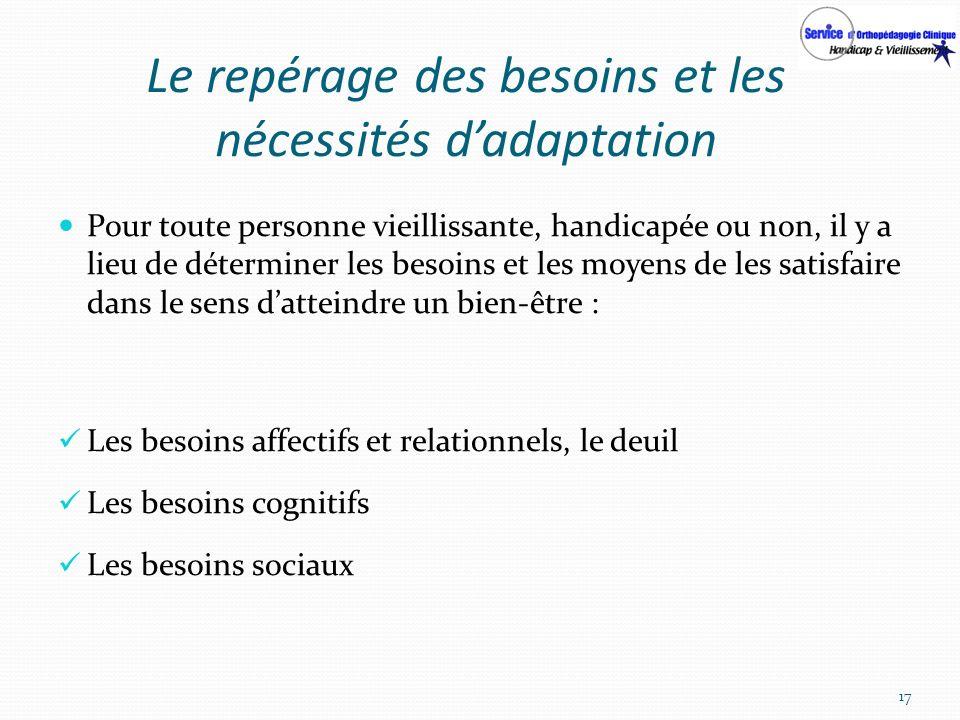 Le repérage des besoins et les nécessités d'adaptation