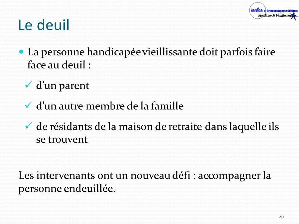 Le deuil La personne handicapée vieillissante doit parfois faire face au deuil : d'un parent. d'un autre membre de la famille.