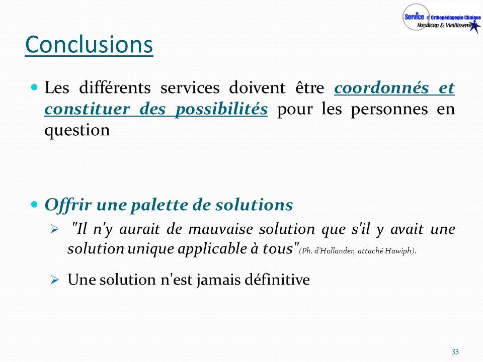 Conclusions Les différents services doivent être coordonnés et constituer des possibilités pour les personnes en question.