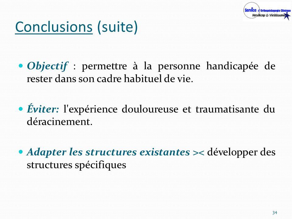 Conclusions (suite) Objectif : permettre à la personne handicapée de rester dans son cadre habituel de vie.