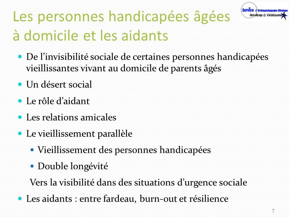 Les personnes handicapées âgées à domicile et les aidants