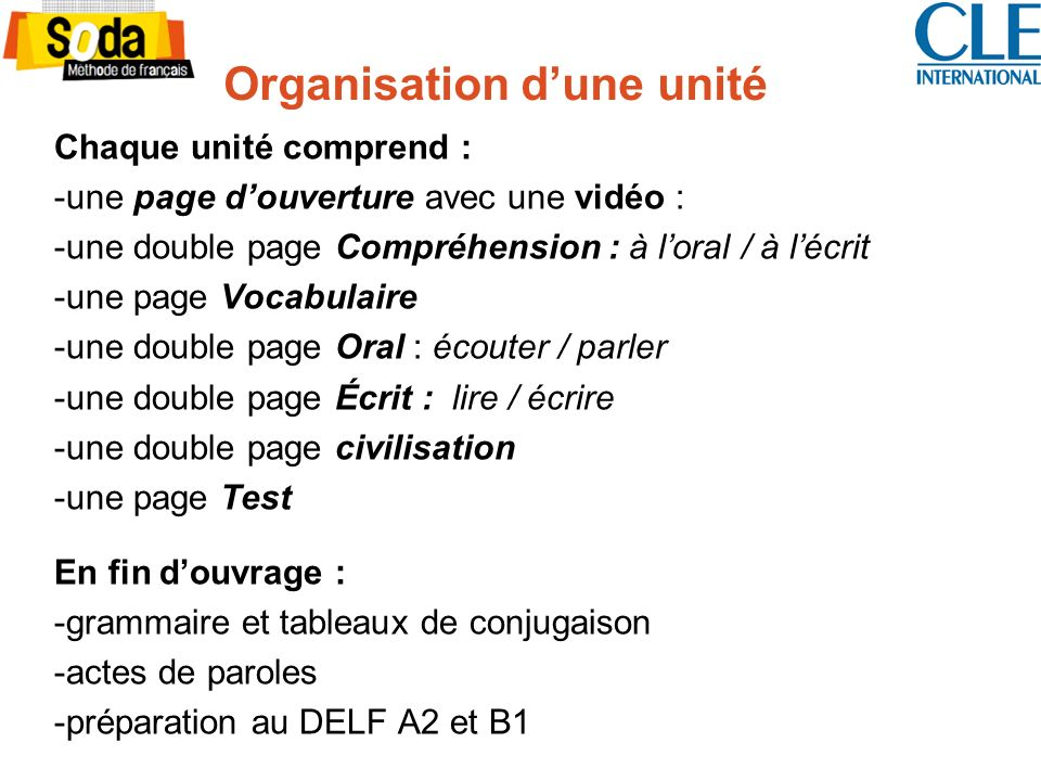 Organisation d'une unité