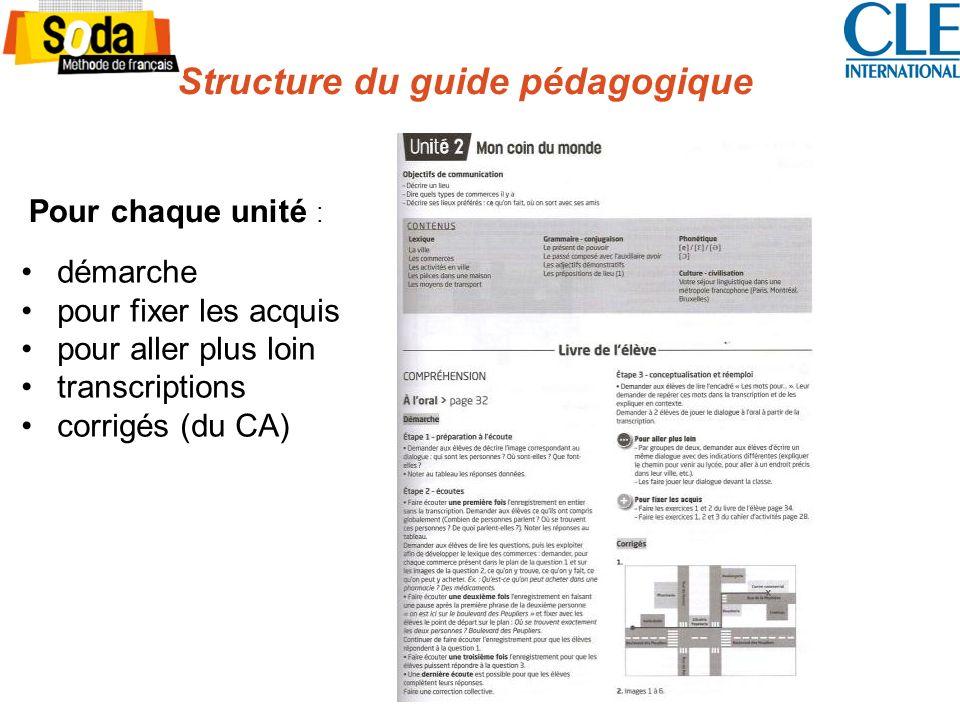 Structure du guide pédagogique