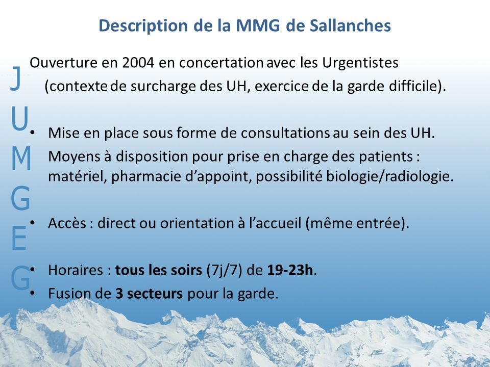 Description de la MMG de Sallanches
