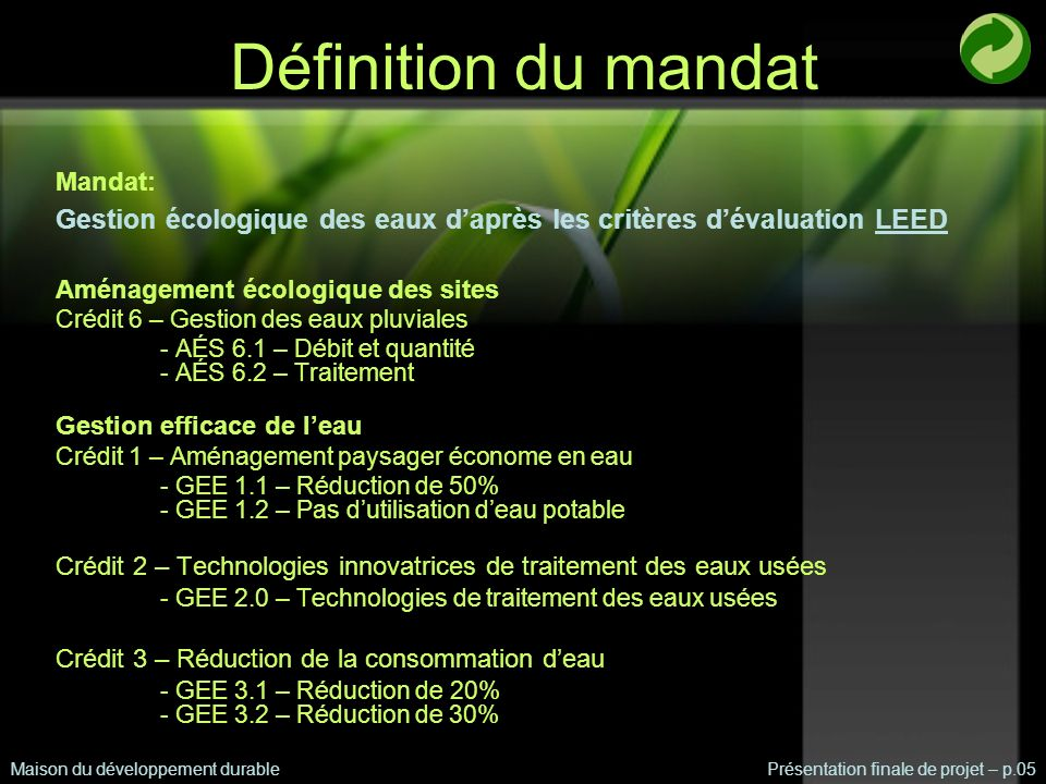 Définition du mandat Mandat: Gestion écologique des eaux d'après les critères d'évaluation LEED. Aménagement écologique des sites.