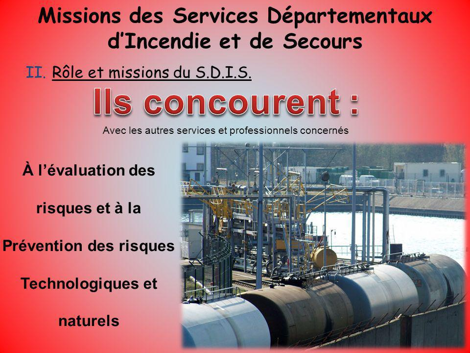 Missions des Services Départementaux d'Incendie et de Secours