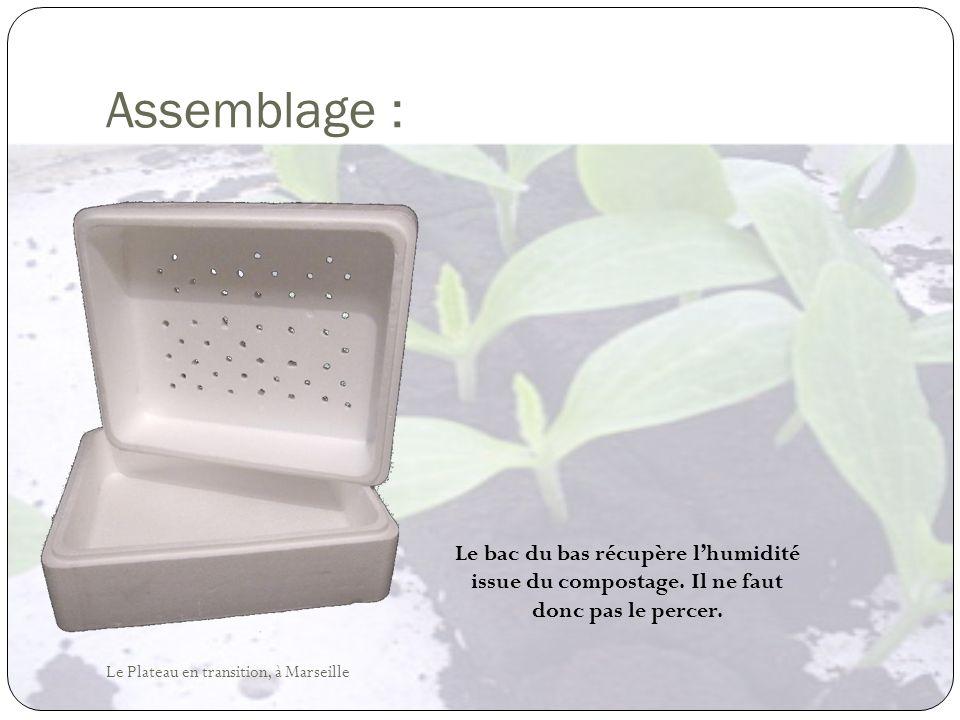 Assemblage : Le bac du bas récupère l'humidité issue du compostage.