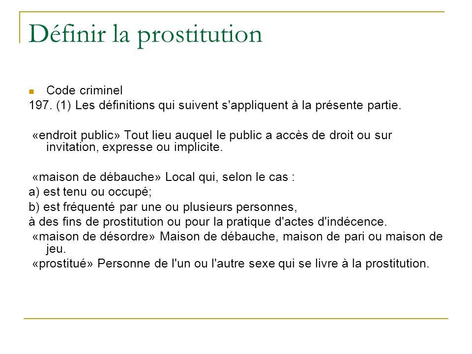 Définir la prostitution