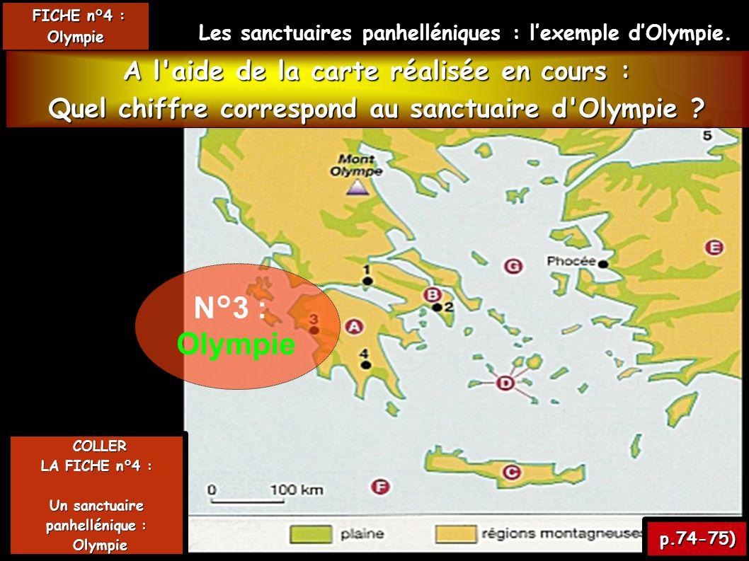 N°3 : Olympie A l aide de la carte réalisée en cours :