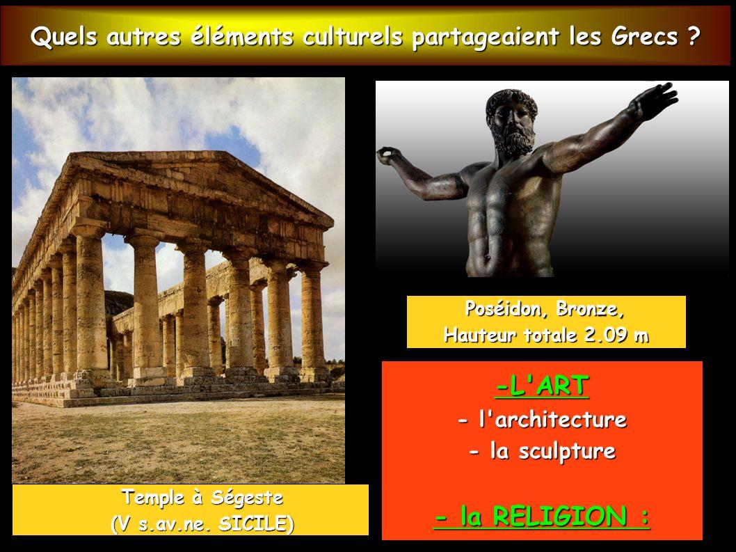 Quels autres éléments culturels partageaient les Grecs