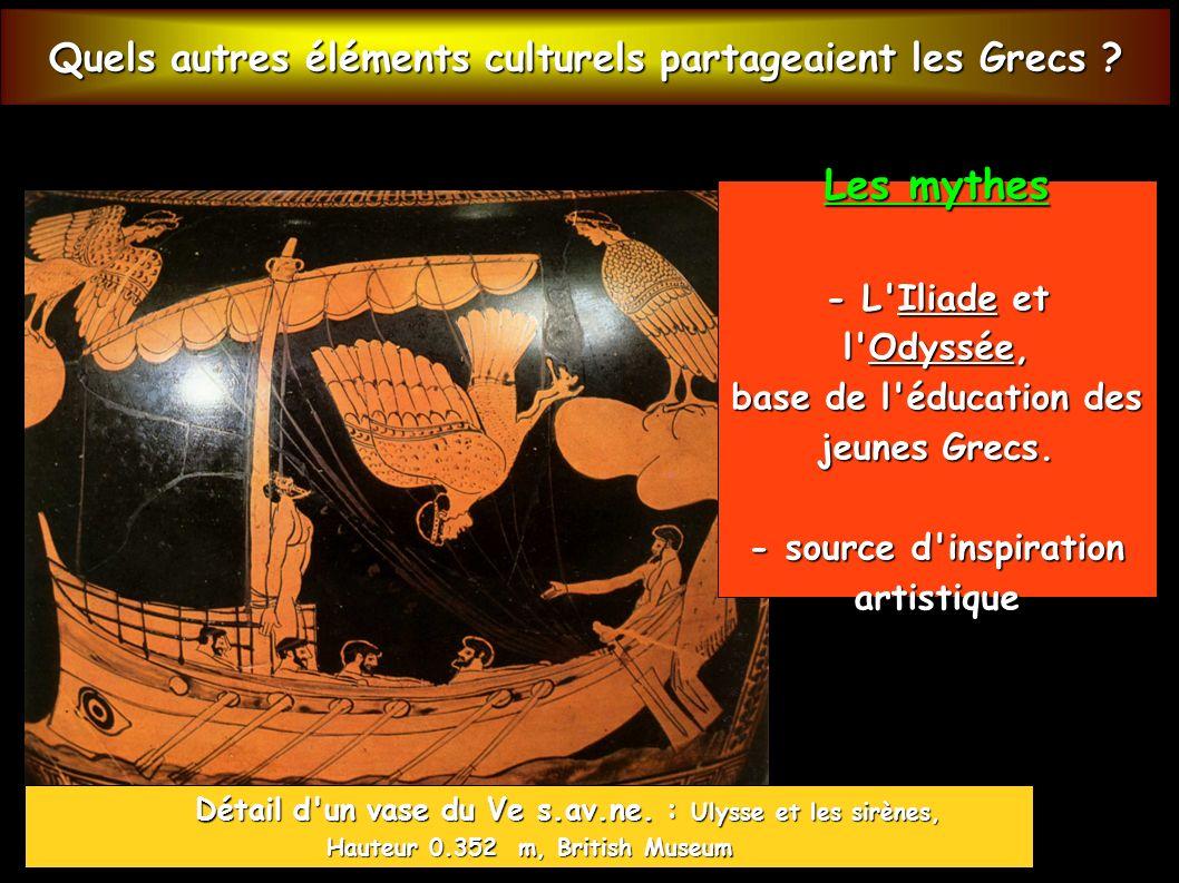 Les mythes Quels autres éléments culturels partageaient les Grecs