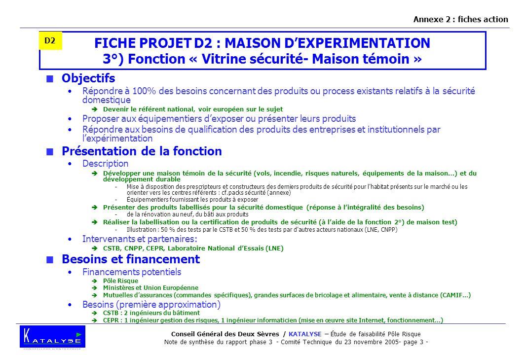 Annexe 2 : fiches action D2. FICHE PROJET D2 : MAISON D'EXPERIMENTATION 3°) Fonction « Vitrine sécurité- Maison témoin »